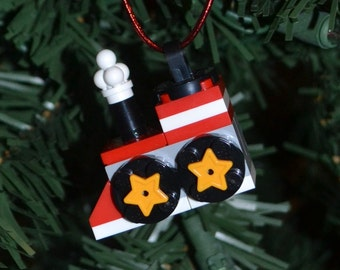 LEGO Train Christmas Ornament with instructions - Build Your Own!
