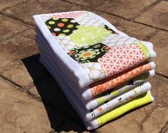 Baby Burp Cloths, Set of 5 Coral and Lime Green Coordinating Prints-Baby Shower Gift