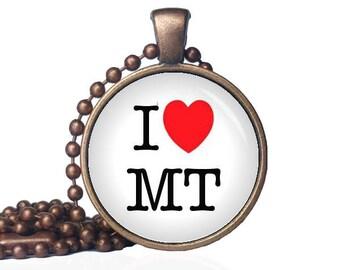 I Love Montana - I Heart MT - I Heart Montana - State Love - Montana Necklace - State Necklace