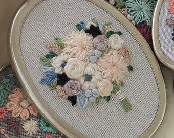 Hand Embroidered Wedding Bouquet Portrait Necklace