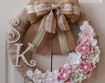 Custom Baby Wreath Door Wreath Nursery Wreath Baby Shower Wreath Event Wreath Nursery Wall Decor
