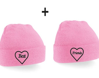 Best Friends Couple Beanie Mütze -  Pink,Beanies,Friends,Gift,Best friends,love,friends gift,birthday gift