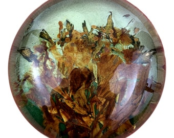 Glass Paperweight Gold Brown Leaves Surreal Landscape