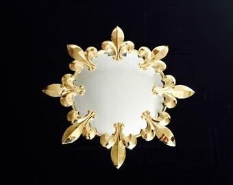 SALE Vintage Convex Mirror mid century modern retro Starburst Sunburst Gilded Metal Fleur de Lys design wall Mirror