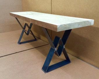 Bench Legs, Diamond Design Industrial Bench Legs, Set of 2 Flat Steel Bench Legs