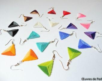 Handmade dangling triangle tricolor Miyuki beaded earrings made in peyote stitch