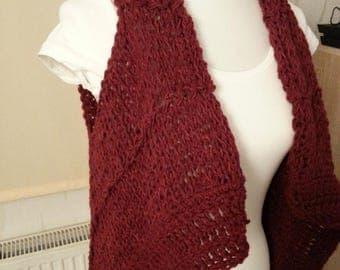 Vest, pointy vest, sweater vest, summer vest, jacket, knit, Red