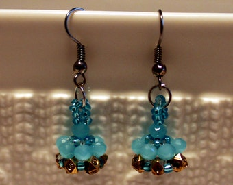 Blue & metallic-hued beaded handmade earrings; beadweaving, blue, metallic, beaded dangling earrings