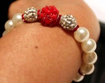 Beautiful Pearl & Czech Crystal disco-ball rhinestone-beaded handmade bracelet; beadweaving, shamballa, cute, casual wear, party wear