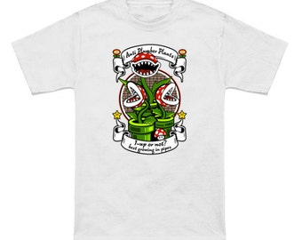 1-UP OR NOT? Geek T-Shirt Super Mario Bros 1-Up Mushroom Nintendo Shirt Piranha Plant Video Game Nerd Pop Culture