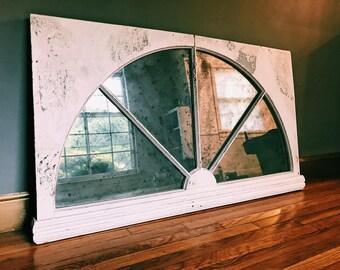Vintage Hanging Window Pane + Antiqued Mirror