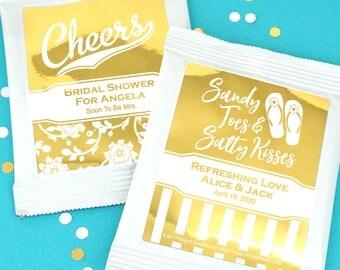 Wedding Favor Drink Mixes, Personalized Metallic Foil Drink Mix Favors, Bridal Shower Margaritas, Cosmopolitan - Set of 30