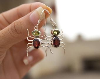 Garnet & Peridot Earrings, Garnet Gemstone Earrings, Sterling Silver, Handmade Natural Stone Dangles, January Birthstone Garnet Jewelry