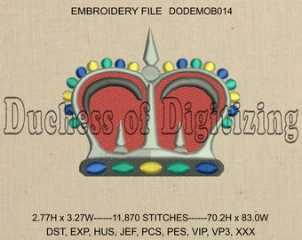 Crown Embroidery Design, Crown Embroidery file, DODEMOB014