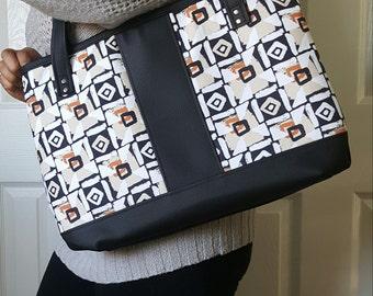 Tan Brown Black Faux Leather Handbag, Tote, Purse, Travel Bag, Diaper Bag, Laptop Bag, Large Handbag, Work Bag, Geometric, Gifts for Her