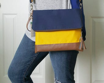 Navy Blue Crossbody Bag, Yellow Crossbody Bag, Faux Leather, Crossbody Purse, Clutch Purse, Wristlet Purse, Shoulder Bag, Handbag, Gift Idea