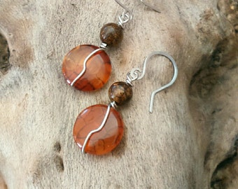 Brown ethnic earrings stainless steel, agates and bronzite