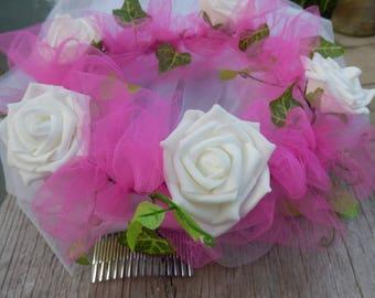 Floral Crown, Hen Party Veil, Festival Crown, Flower Tiara, Bachelorette Veil, Wedding Veil, Rose Crown, White and Pink Crown, Boho Crown