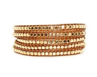 Gold Beads on Tan Leather - Wrap Bracelet
