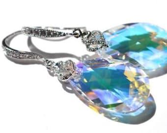 Handmade Swarovski Aurora Borealis (AB) Pear Crystal Dangle Earring (Sparkle-1944)