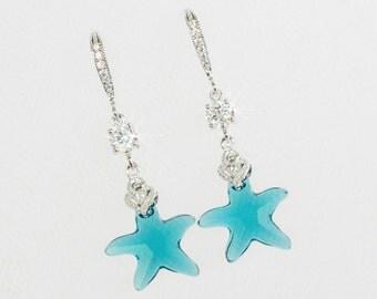 Handmade Swarovski Teal Indicolite Crystal Starfish and CZ Dangle Earrings, Destination Wedding, Beach Wedding (Sparkle-2618)