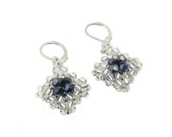 Earrings - earrings - Crystal cut glass - Hematite / Silver (BS-1343)