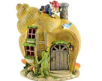 Fairy House, Solar Snail Shell Gnome House, Miniature Garden Accessory 8 inches tall