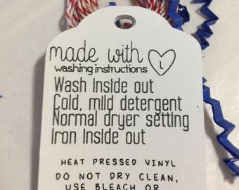 Wash Care Instruction Tags Set Of 12 Heat Transfer Vinyl