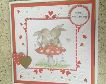 """Large Handmade Lili of the Valley Happy Anniversary card cute rabbits & hearts 7"""" square unique faux pearls"""