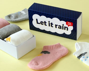Kids 'Let It Rain' Cloud and Lightning Socks Gift Box Available 1-10Y