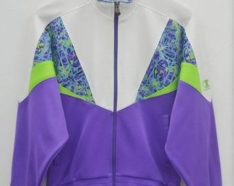 CHAMPION Sweater Vintage 90's Champion Multicolor Streetwear Spellout Track Top Zipper Jacket Size Jaspo M