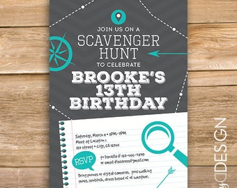 Scavenger Hunt Birthday Party Invite, scavenger invitation, scavenger game, any age, printable, instant download