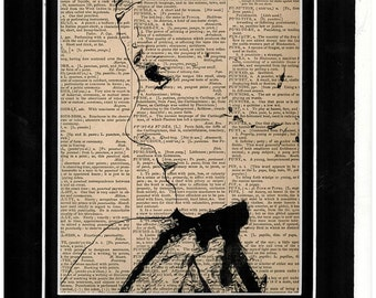 Side profile of Jean Harlow on vintage dictionary paper/art print