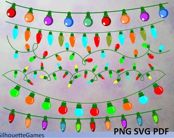Christmas Light Clipart, Clipart Bunting, Party lights clipart, Digital Christmas Light, Christmas Lights Charms, vector art, download