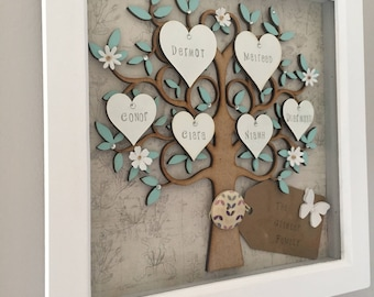 family tree frame, family tree wall art, personalised family tree, mothers day, wall art, frames and displays, mothers day gift,grandchilden