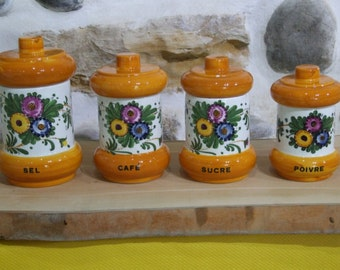 Set of Kitchen Canisters // salt // coffee // sugar // pepper // retro //