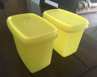 2 vintage tupperware yellow modular mates