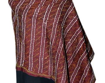 Vintage Kantha Silk Scarve Reversible Round Kantha Stitched Neck Wrap 94