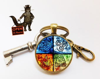 Legend of Korra Keychain, Avatar The Last Airbender Keychain, Avatar symbols Earth Fire Water Air accessory jewelry, Keychain for Him Her