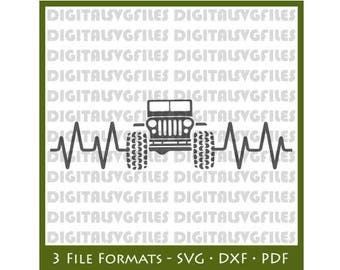 Heartbeat Jeep SVG File, Jeep 4x4 SVG File, Jeep SVG Cutting Vector Clip Art for Commercial & Personal Heartbeat Jeep svg dxf