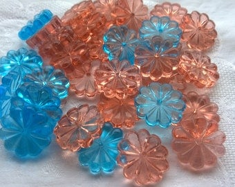 German Vintage Blue and Peach Floral Glass Stone Flower Glass Vintage Floral Blue and Peach Glass Stone/Vintage Pressed Glass FLOWER BEADS