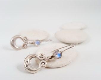 Moonstone Earrings Moon Drops Sterling Earring Organic Earrings Gift For Her horse shoe Earrings Gift for Bride June Birthstone gift for her