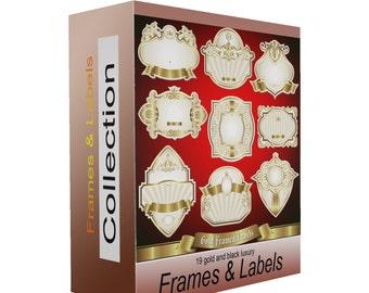 Gold labels digital scrapbook frames clipart,  frame clip art, graphics, 19 .png  files