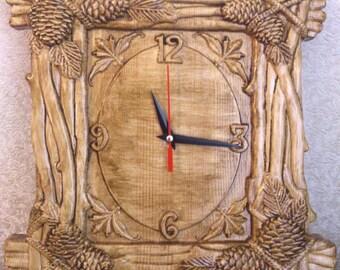 """Carved Wood Wall Clock """"Fir Cones"""", Wooden Clock, Carved Clock, Creative Clock, Unique Design, Natural Wood Clock, Home Decor clock"""