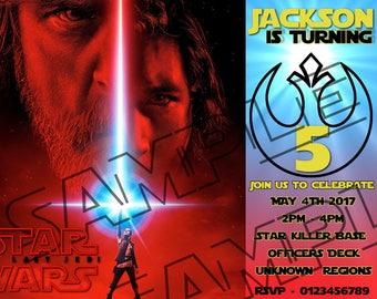 The Last Jedi Invitation, Force Awakens, bb8, Star Wars, Birthday Invitation, Star Wars Invitation, Kylo Ren invitation, girl, invite