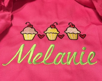 Personalized Cupcake Aprons with Ruffles for Little Girls