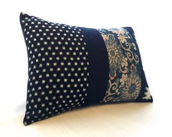 Upcycled INDIGO KASURI KATAZOME Decorative Cushion!