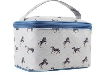 TaylorHe Vanity Bag Make-up Bag Toiletry Bag With Handle Marble Horses.