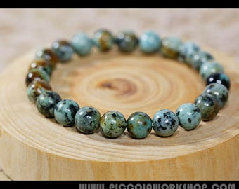 Handmade Round Natural African Turquoise Beads Bracelet