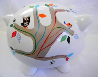 Personalized piggy bank,painted piggy banks, childrens banks, piggy banks for kids, ceramic piggy banks, large piggy banks, baby accessories